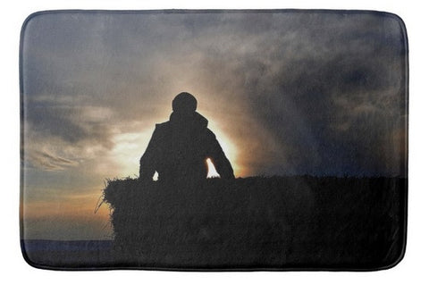 Bucking Hay at Sunrise Bath Mat