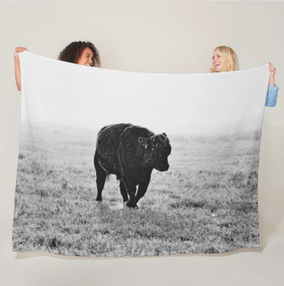 Bull After Ice Storm Fleece Blanket