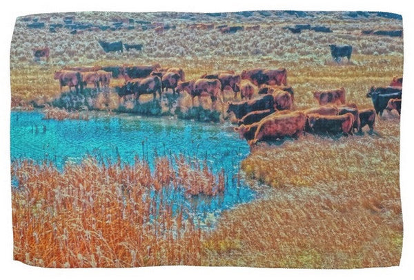 Cattails, Cattle And Sage Kitchen Towel