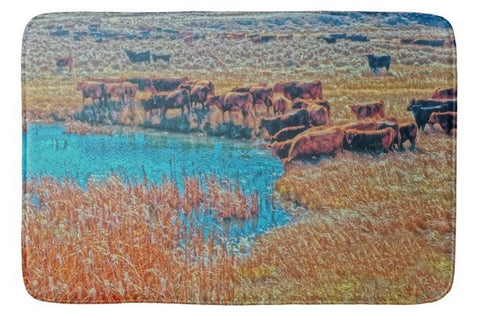 Cattails, Cattle And Sage Bath Mat