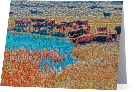 Cattails, Cattle And Sage Note Cards and Greeting Cards (25 Pack)