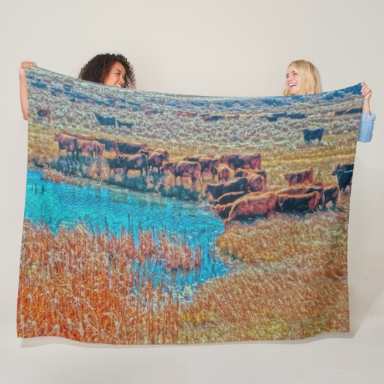 Cattails, Cattle and Sage Fleece Blanket
