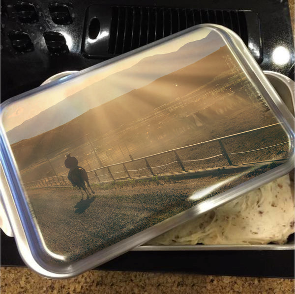 Checking the Lot at Sunset Cake Pan with Lid