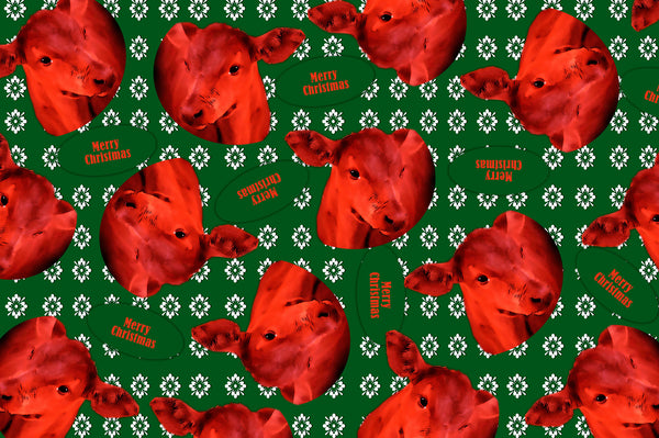 Calf Christmas Wrapping Paper