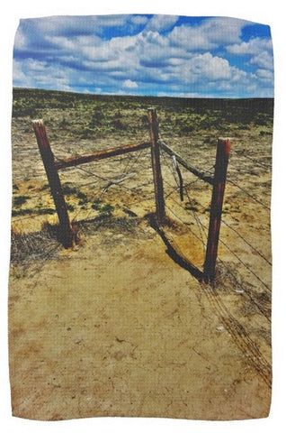 Dry Desert Fenceline Kitchen Towel