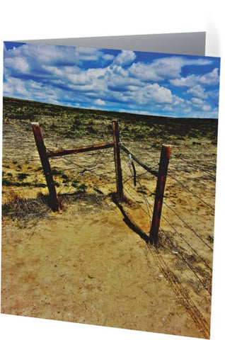 Dry Desert Fenceline Note Cards and Greeting Cards (25 Pack)