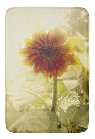 Dusty Retro Sunflower Bath Mat