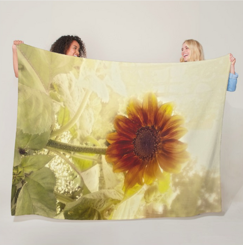 Dusty Retro Sunflower Fleece Blanket