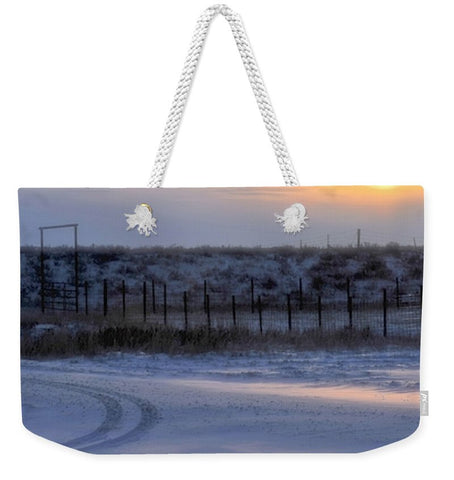 Early Morning Winter Weekender Tote bag