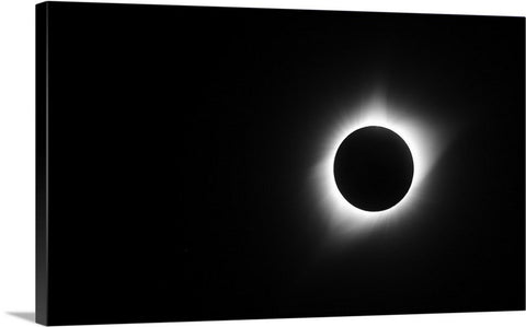 Eclipse Totality Black And White Canvas Print
