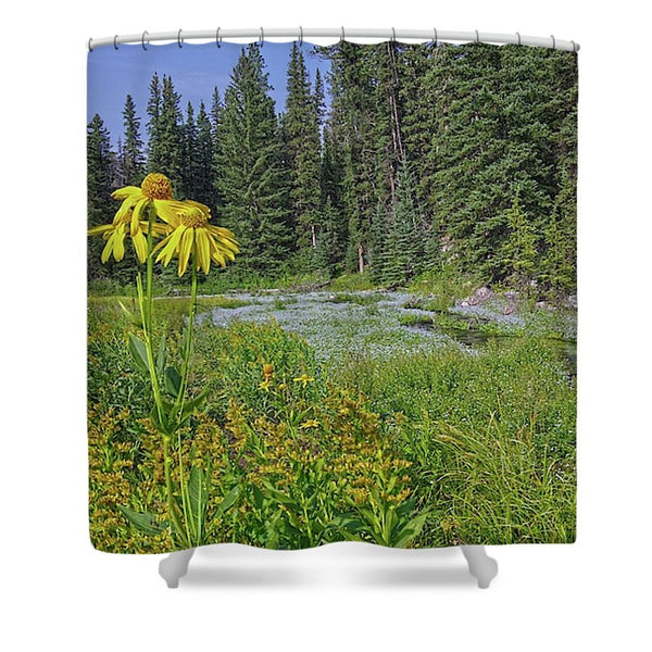 Gold And Pines Shower Curtain