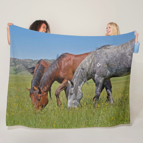 Grass Grazing Time Fleece Blanket