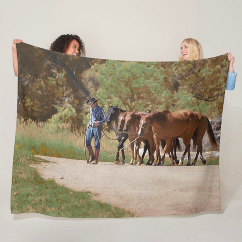 He Leads Me To Still Waters Fleece Blanket