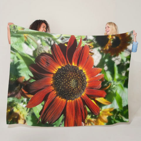 Hearts on Fire Sunflower Fleece Blanket