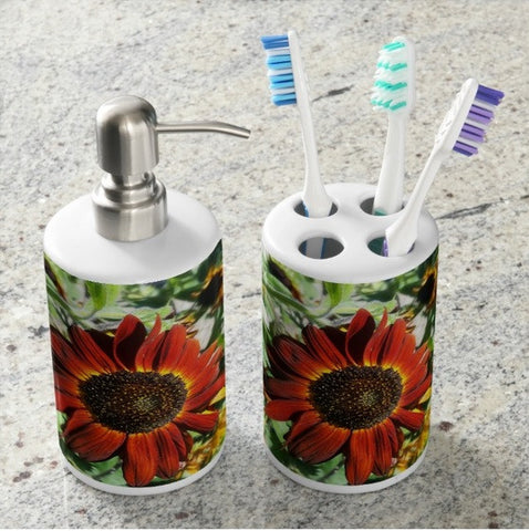 Hearts on Fire Sunflower Bathroom Set
