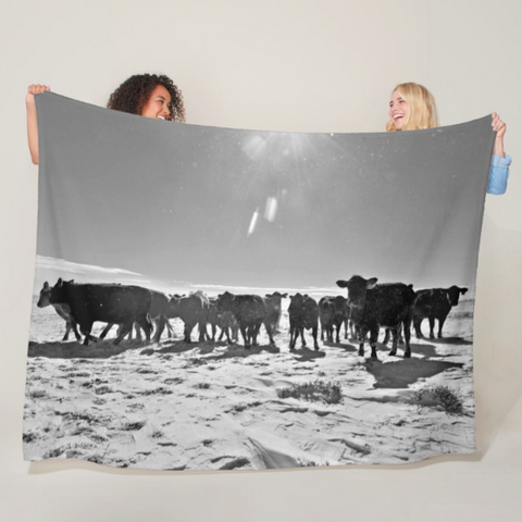Heifers in the Snow Fleece Blanket