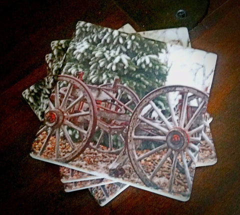 Wagon in Winter - Set of 4 Sandstone Coasters