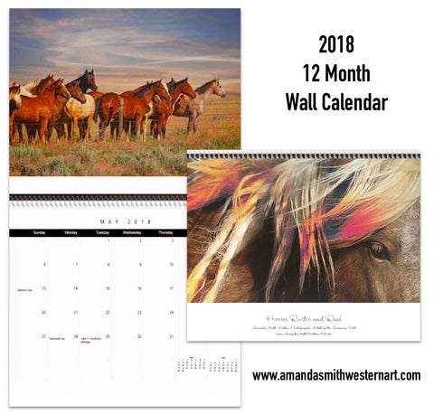 "2018 Horse Calendar ""Horses - Rustic and Real"""