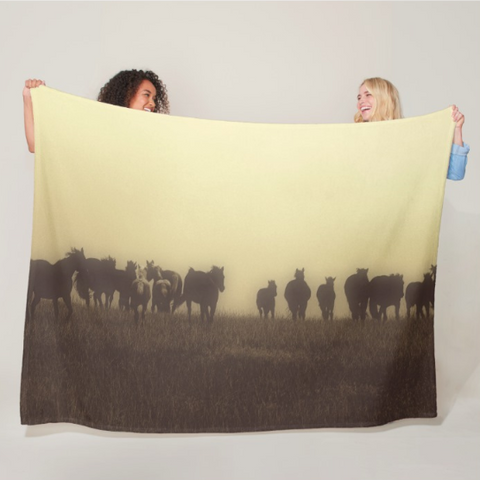 Last Run at Dusk Fleece Blanket