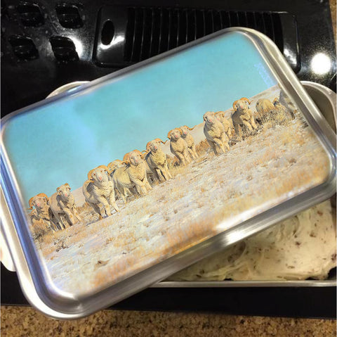 Line Em Up Rams Cake Pan with Lid