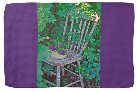 Old Chair New Petunias Kitchen Towel