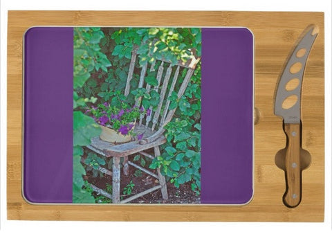 Old Chair New Petunias Cheese Board