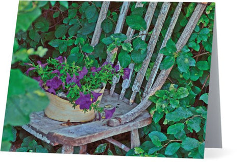 Old Chair New Petunias Note Cards and Greeting Cards (25 Pack)