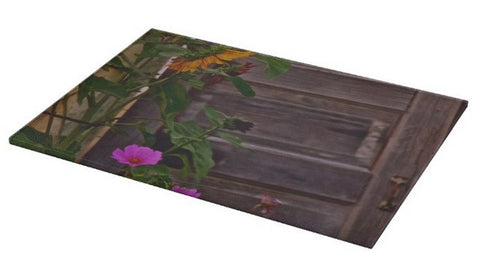 Old Kitchen Door And a Cottage Garden Cutting Board