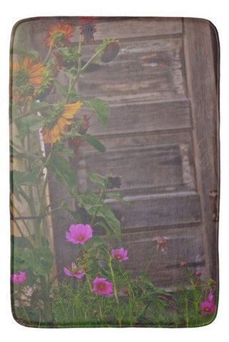 Old Kitchen Door And a Cottage Garden Bath Mat