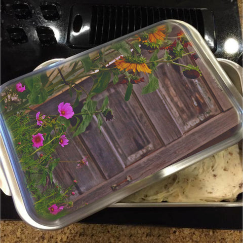 Old Kitchen Door and a Cottage Garden Cake Pan with Lid