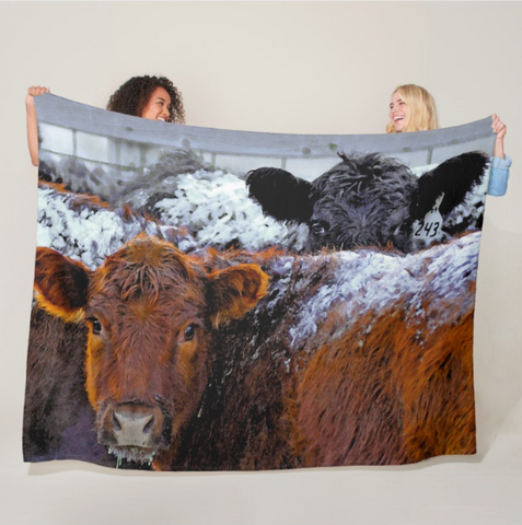 Peek a Boo Heifers Fleece Blanket