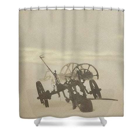 Plow in Blizzard Shower Curtain
