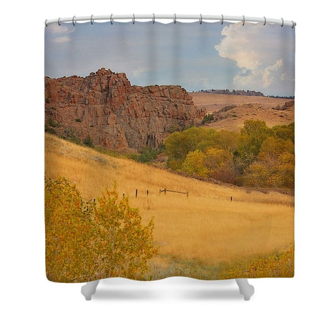 Powder River Fence Shower Curtain