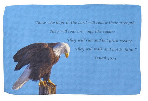 Preparing for Patriotic Flight Eagle Inspirational Kitchen Towel