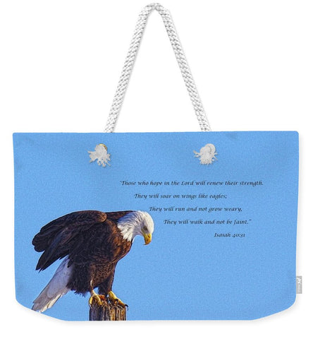 Preparing for Patriotic Flight Eagle Inspirational Weekender Tote bag
