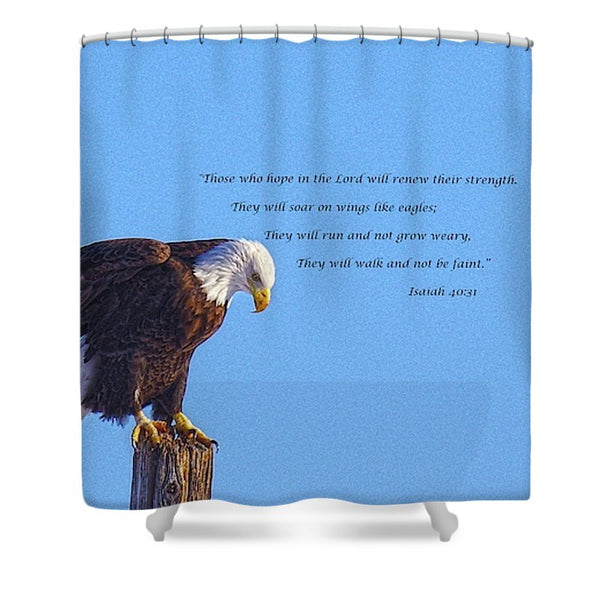 Preparing for Patriotic Flight Eagle Inspirational Shower Curtain