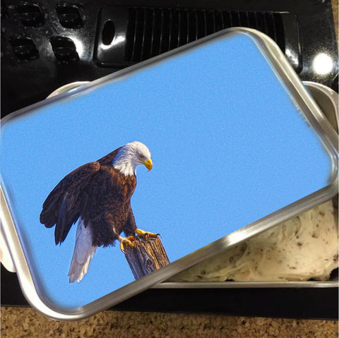Preparing for Patriotic Flight Eagle Cake Pan with Lid