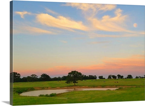 Ranch Setting with Moon Canvas Print