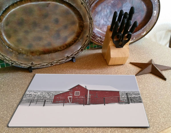 Red Barn in Winter Cutting Board