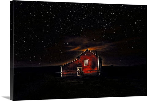 Red Barn at Midnight Canvas Print