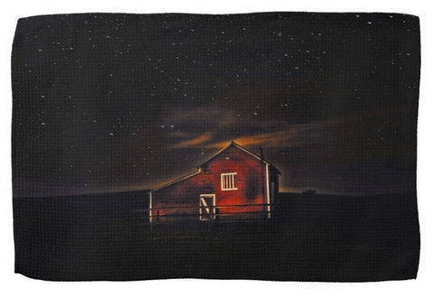 Red Barn at Midnight Kitchen Towel