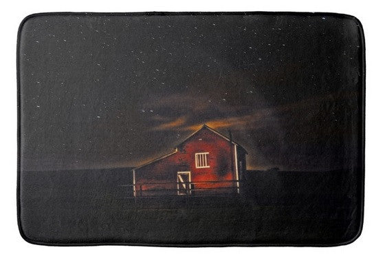 Red Barn at Midnight Bath Mat