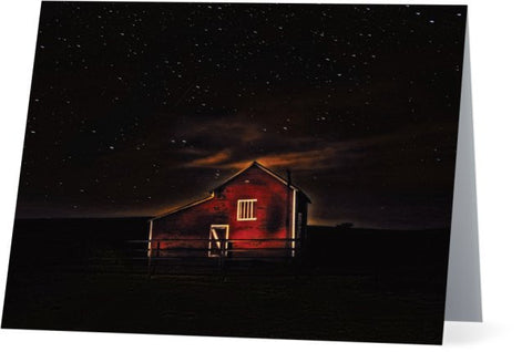 Red Barn at Midnight Note Cards and Greeting Cards (25 Pack)