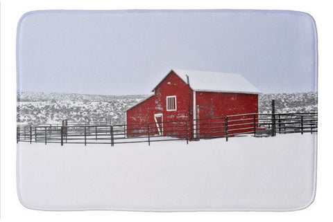 Red Barn in Winter Bath Mat