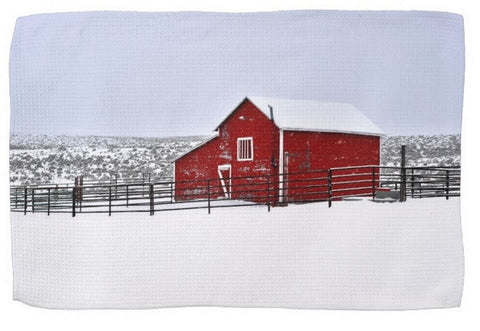 Red Barn in Winter Kitchen Towel
