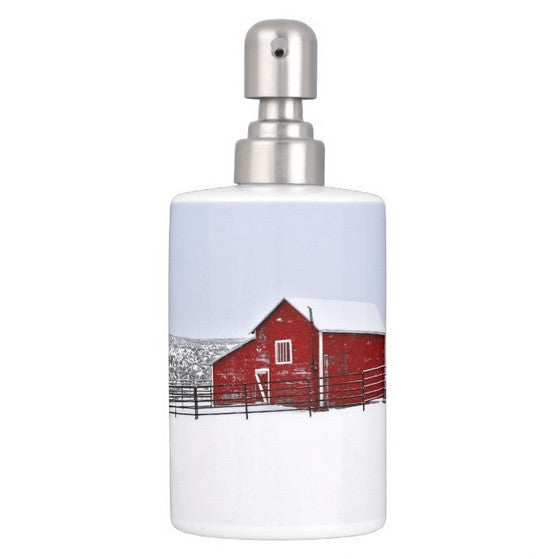 Red Barn in Winter Bathroom Set