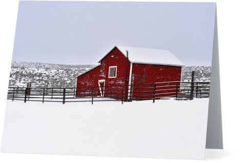 Red Barn in Winter Note Cards and Greeting Cards (25 Pack)