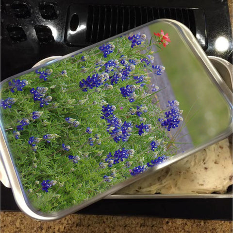 Red Paint Over Blue Bonnets Cake Pan with Lid