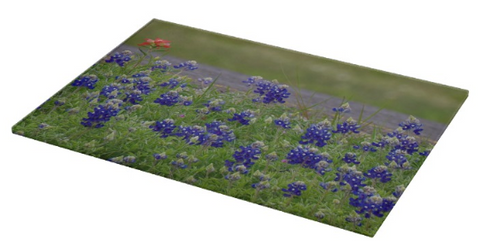Red Paint over Blue Bonnets Cutting Board
