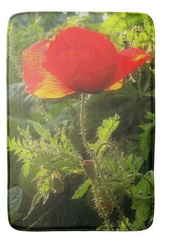 Red Poppy at Sunset Bath Mat